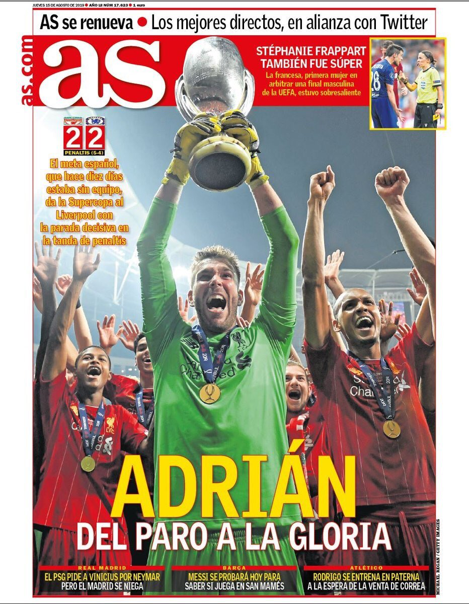 AS Newspaper Headline Liverpool Super Cup Adrian 2019