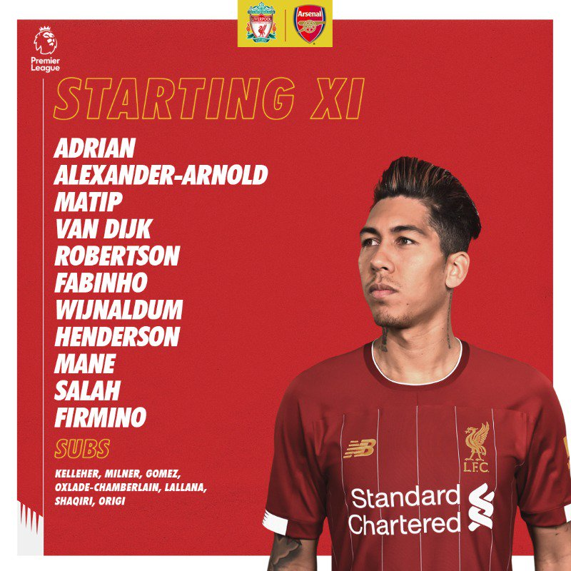 LFC starting lineup vs Arsenal 2019