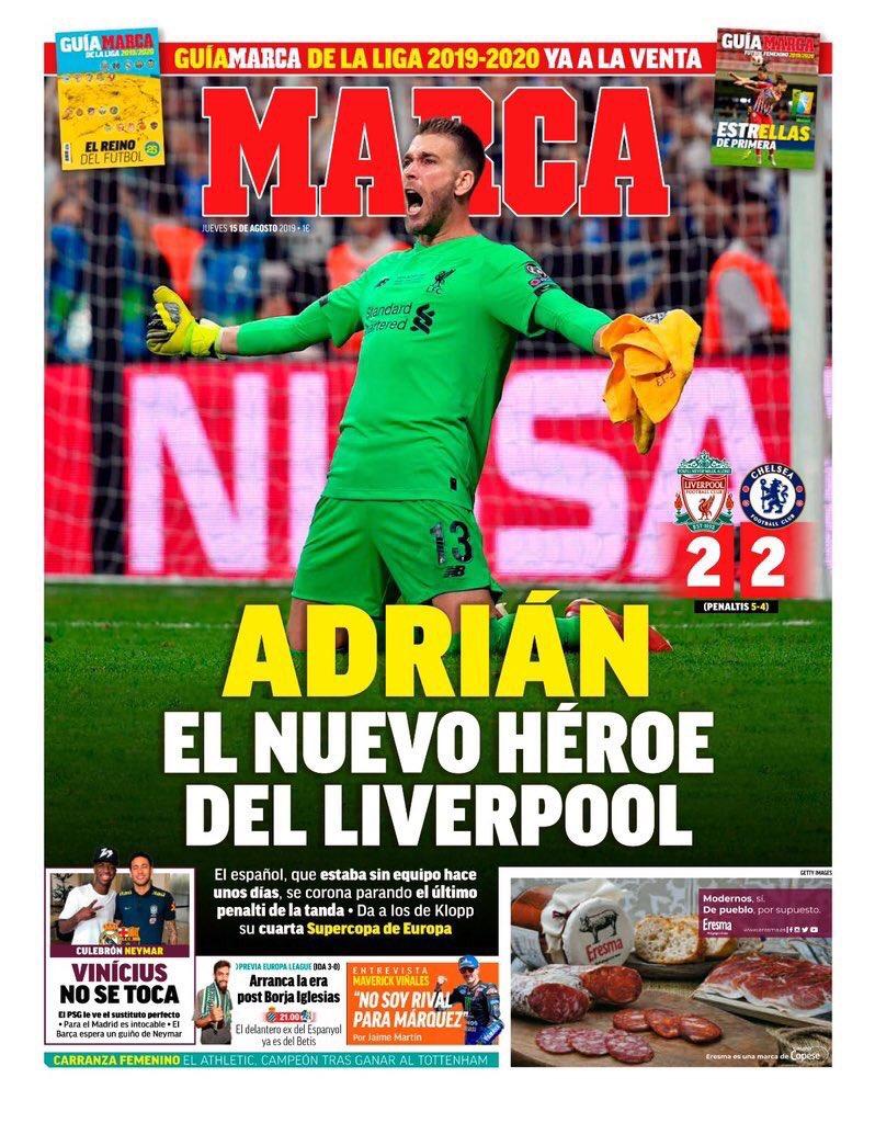 Marca Paper Headlines Liverpool Chelsea Super Cup 2019