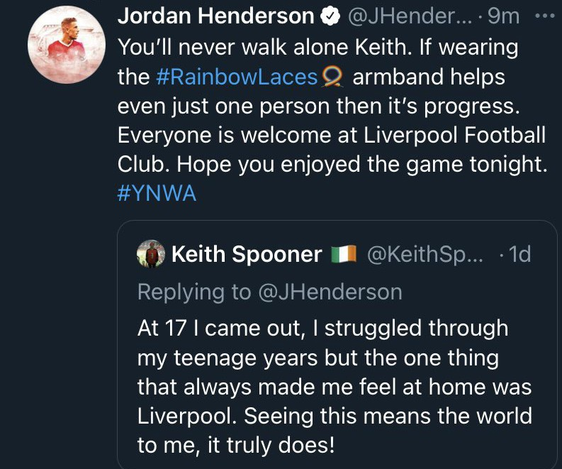 Henderson Rainbow Laces Liverpool Supporter Tweet